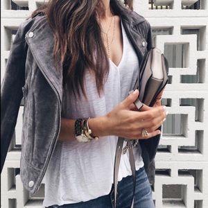 BlankNYC Grey Suede Leather Moro Jacket Women's S